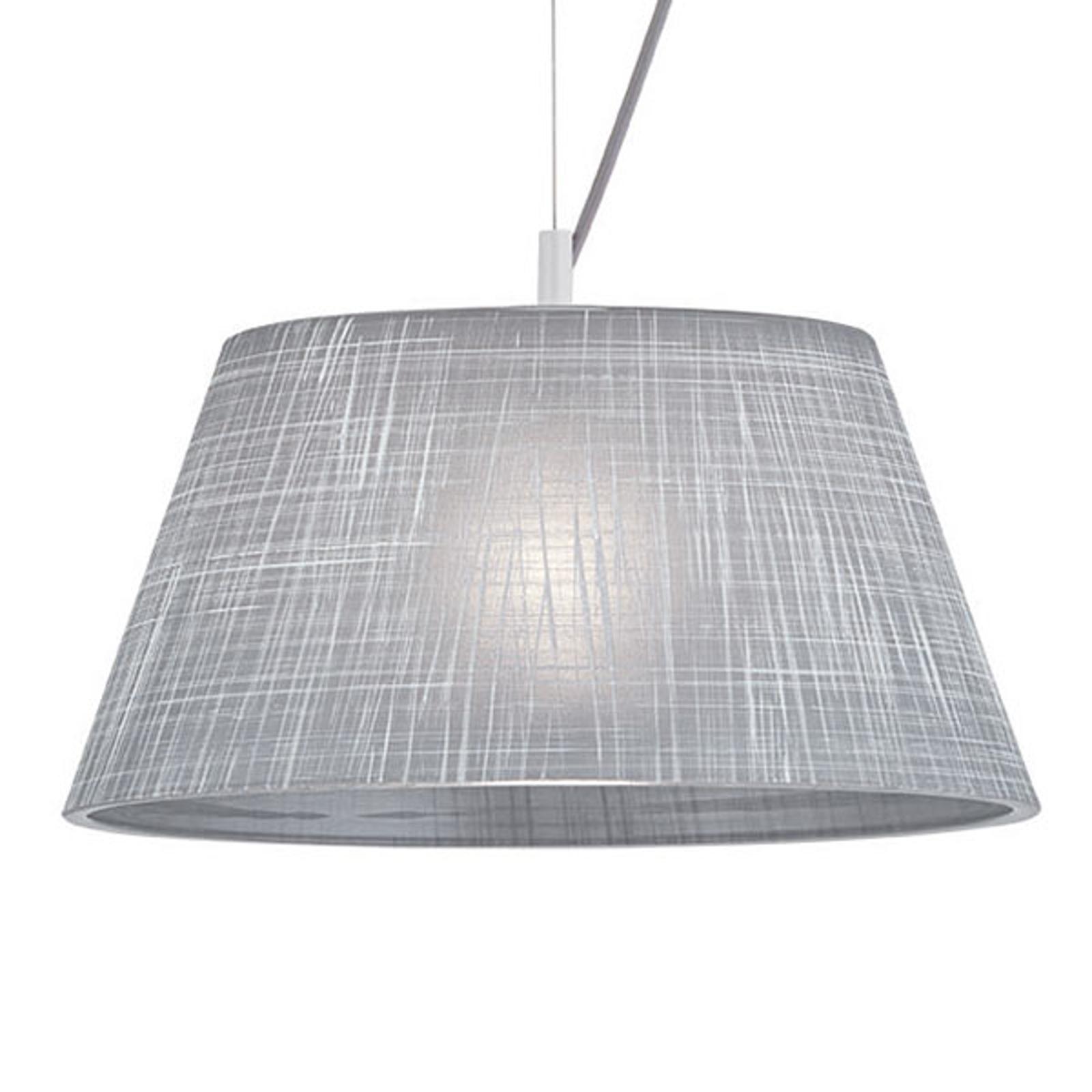 Grijze glas-hanglamp Ester in linnendesign