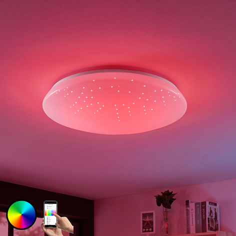 LED-loftlampe Jelka, WiZ, RGB-farveskift, rund