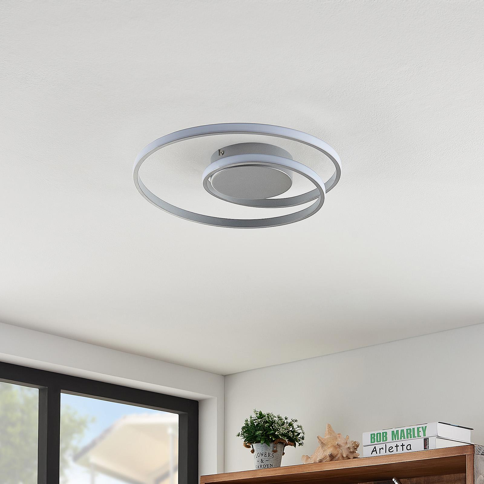 Lindby Kyron LED stropní svítidlo, stříbrný titan