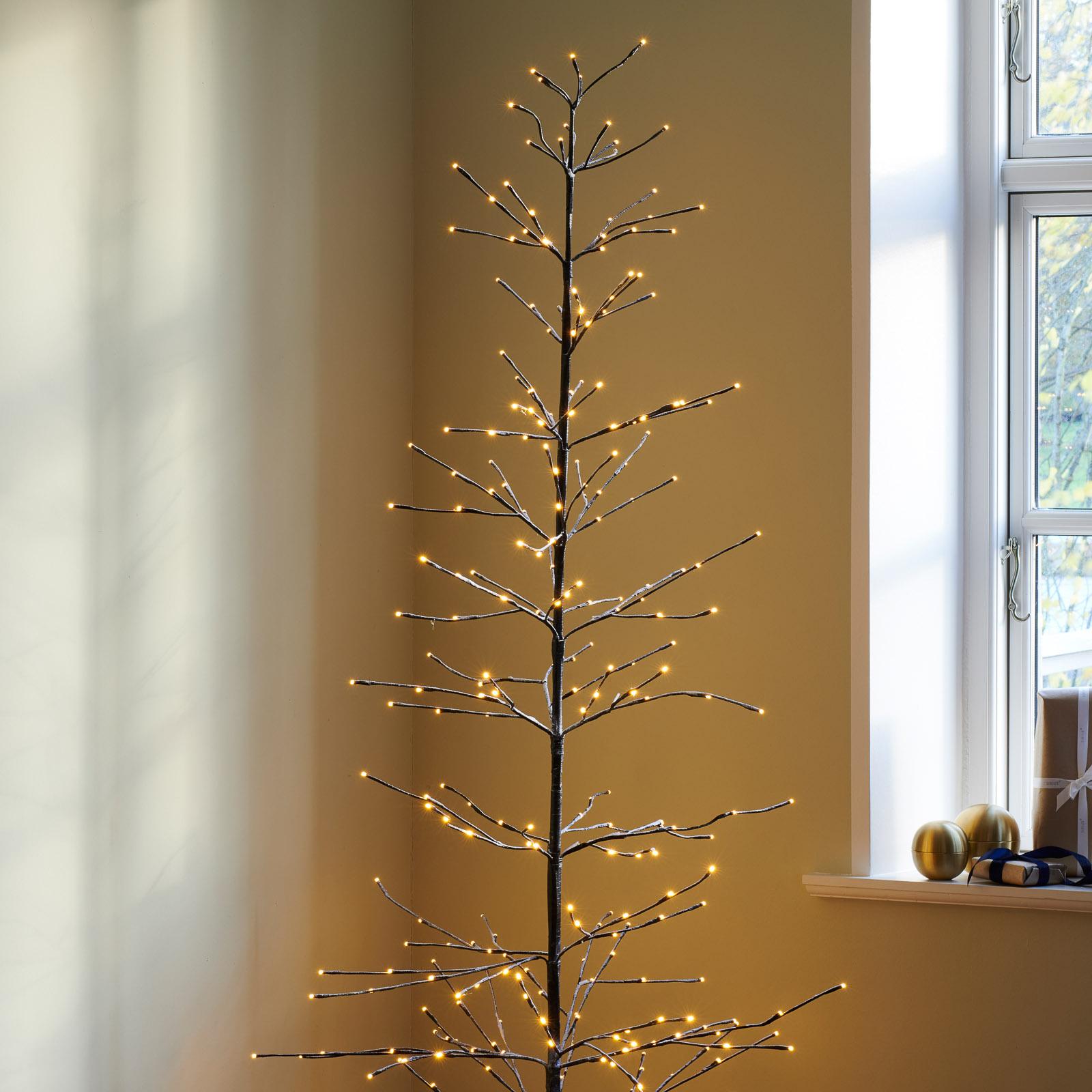 LED boom Isaac hoogte 210cm bruin, wit besneeuwd