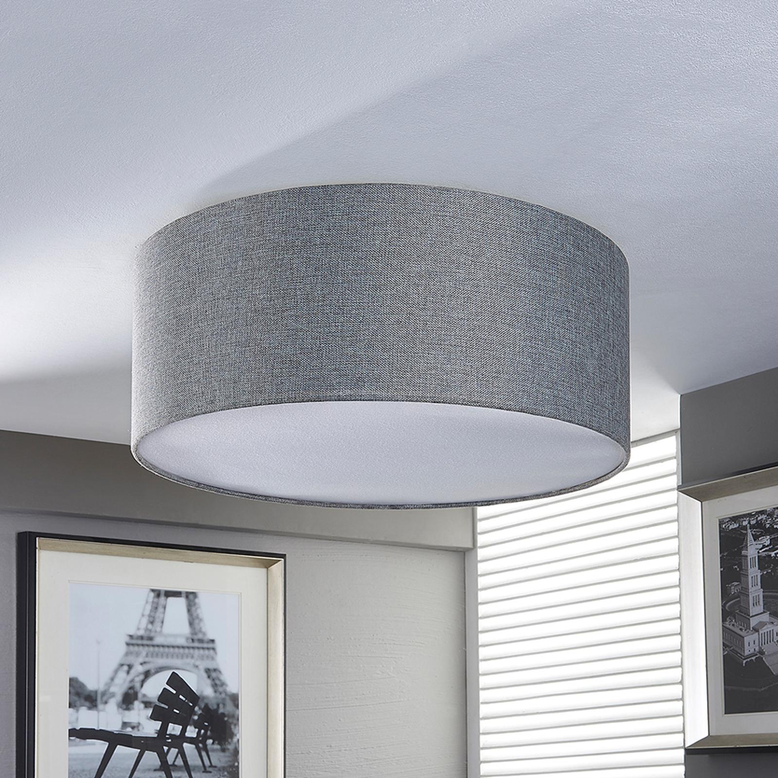 Zilvergr stoffen plafondlamp pitta m linnen look