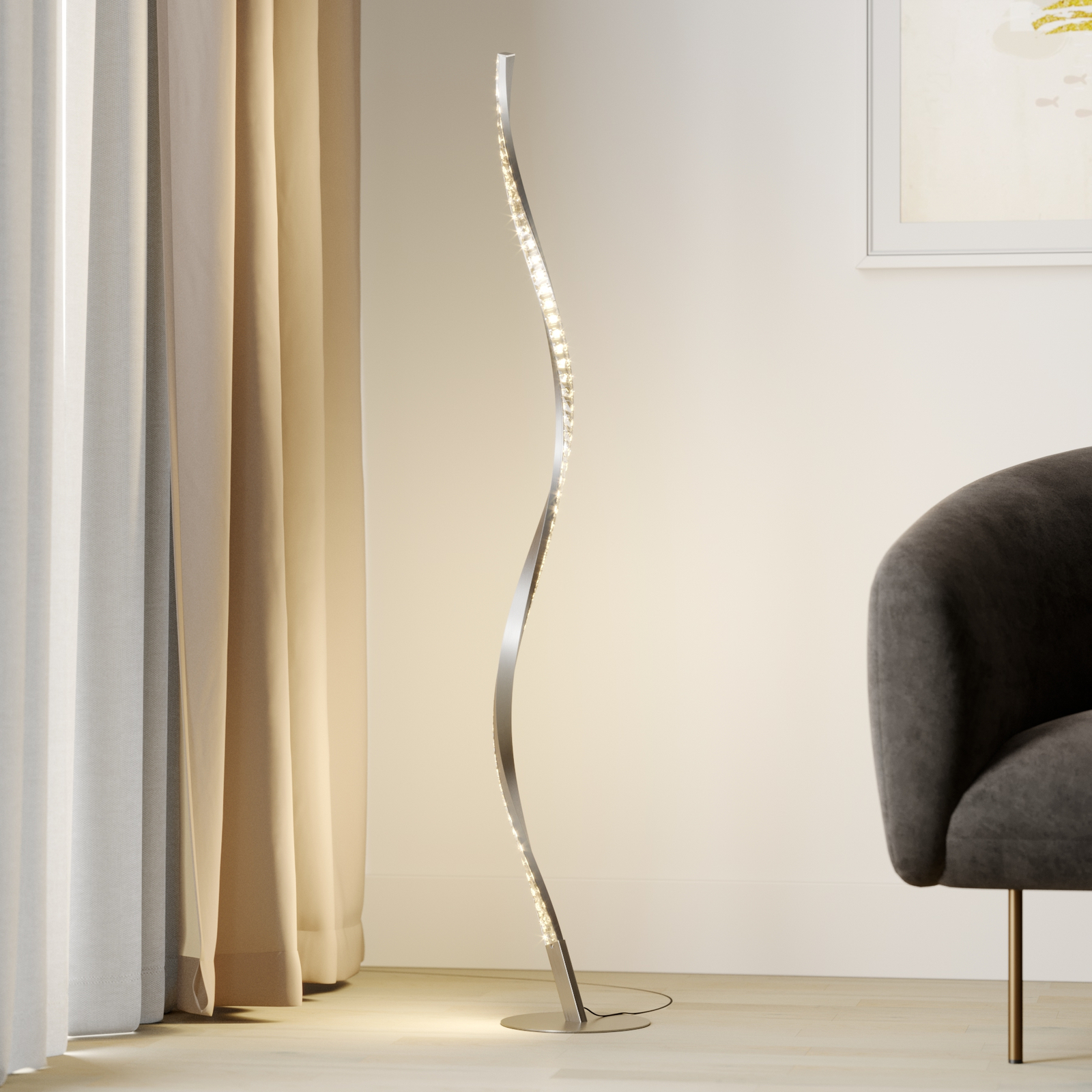 Lindby Criostal piantana LED con cambio colori