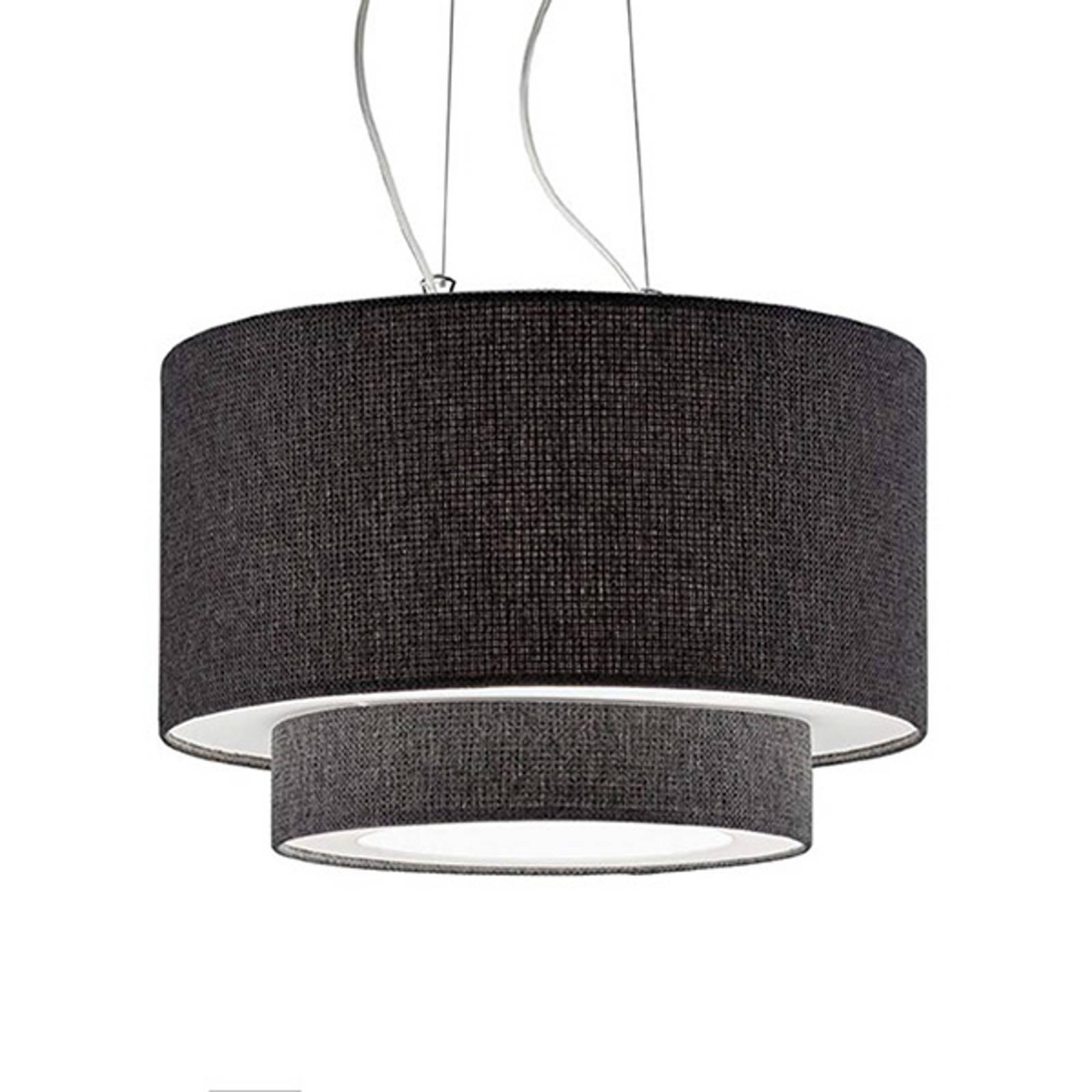 Lampa wisząca Morfeo z kloszem tekstylnym antracyt