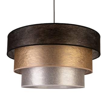 Tekstylna lampa wisząca Luneta, czarna/złota/szara
