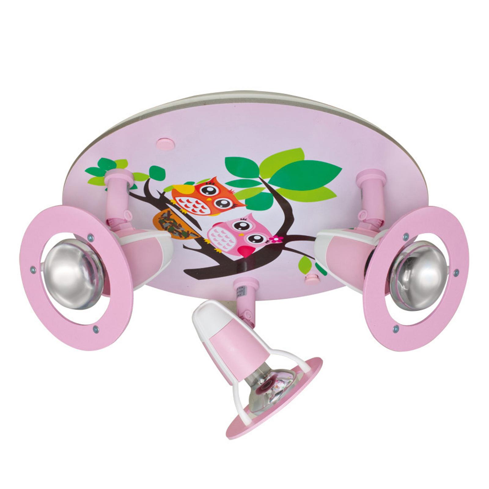 Ładna dziecięca lampa sufitowa Sowa, różowa