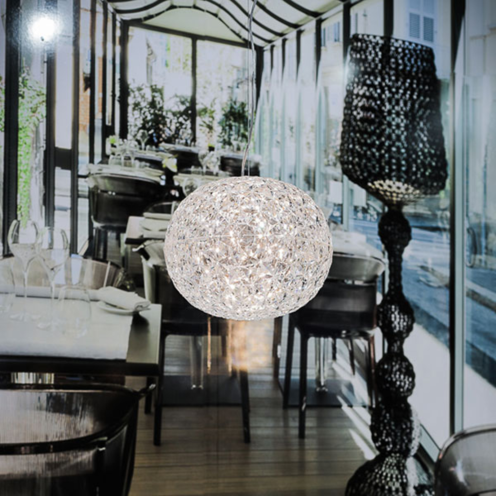 Przezroczysta designerska lampa wisząca LED Planet