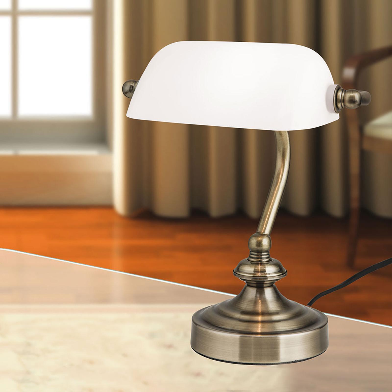 Klassische Banker-Tischleuchte Zora mit Glasschirm