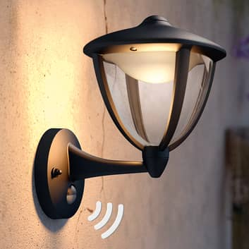 Philips Robin LED-ulkovalo, tunnistin, musta, ylös