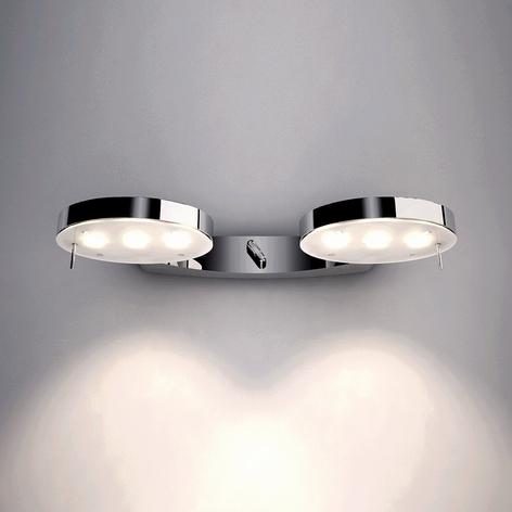Glanzend verchroomde wandlamp 3-led, 2-lichts