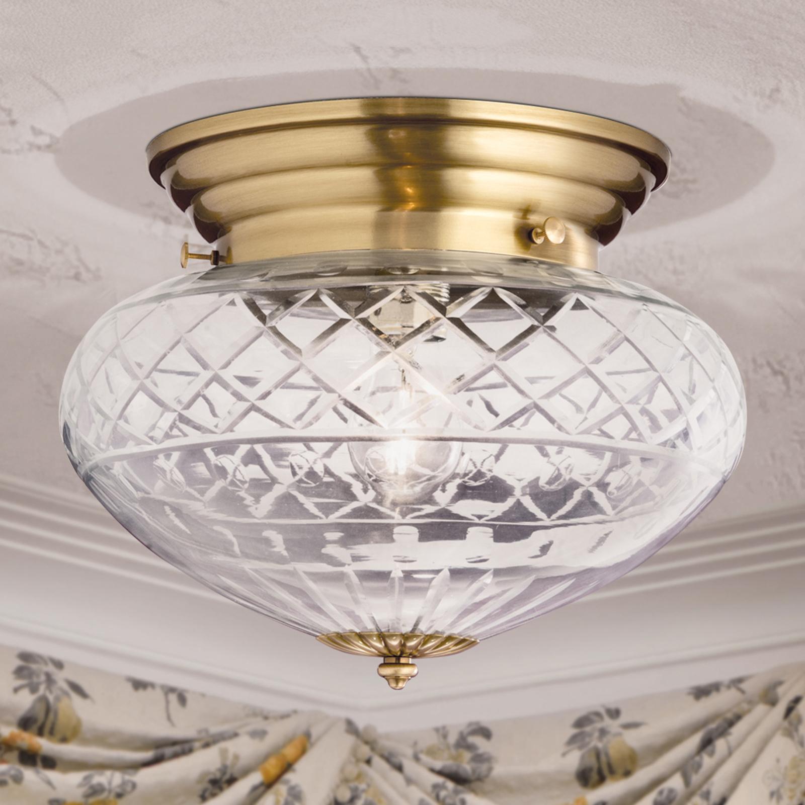 Handgeslepen plafondlamp ENNA, diameter 31 cm