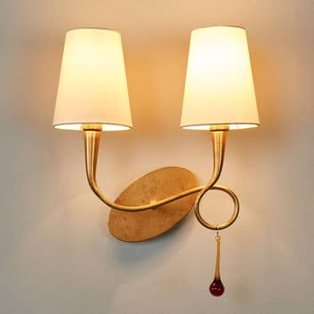 Applique Paola oro, paralume tessile, 2 luci