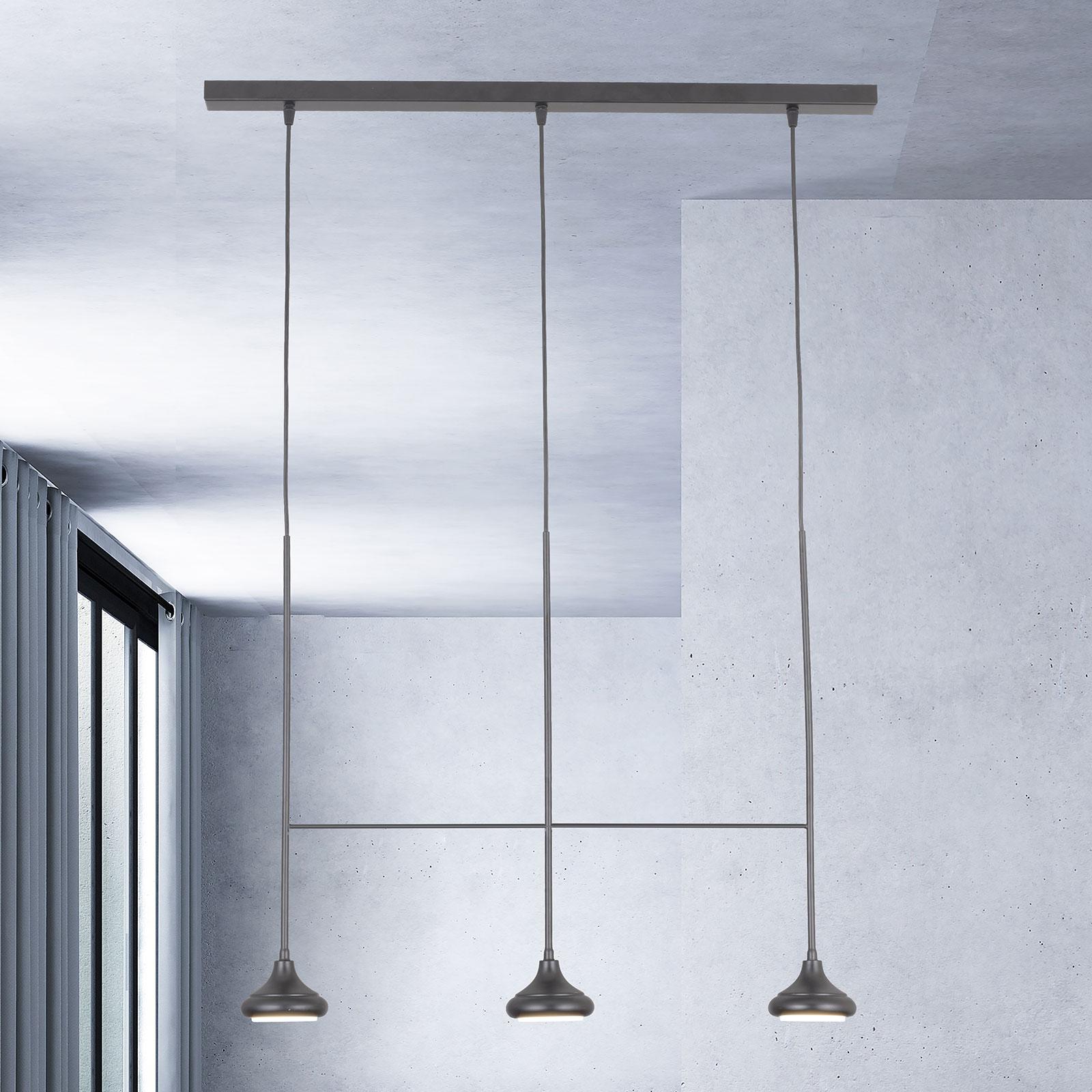 Hanglamp 1680/3TR, 3-lamps, zwart mat