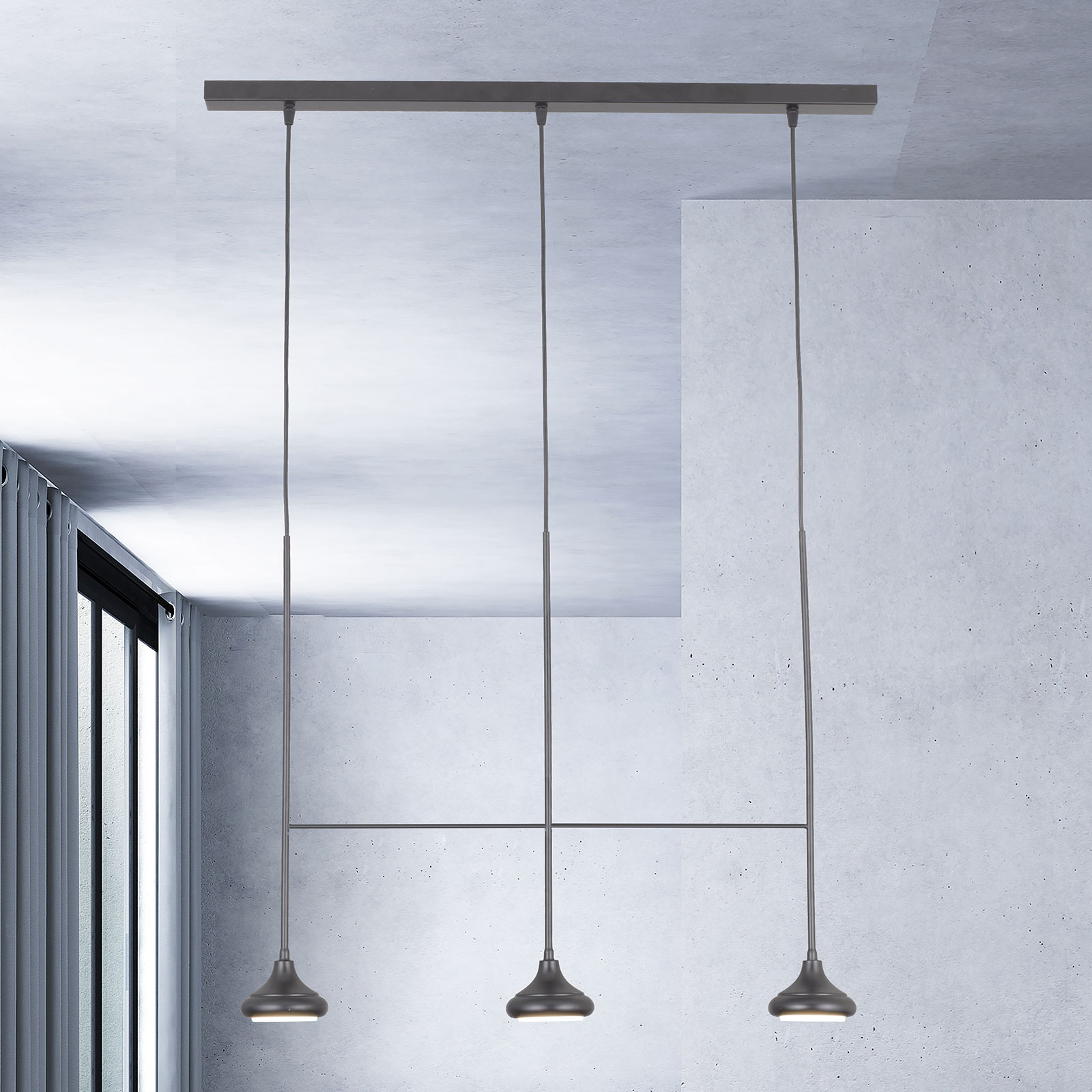 Lampa wisząca 1680/3TR, 3-punktowa, czarna matowa