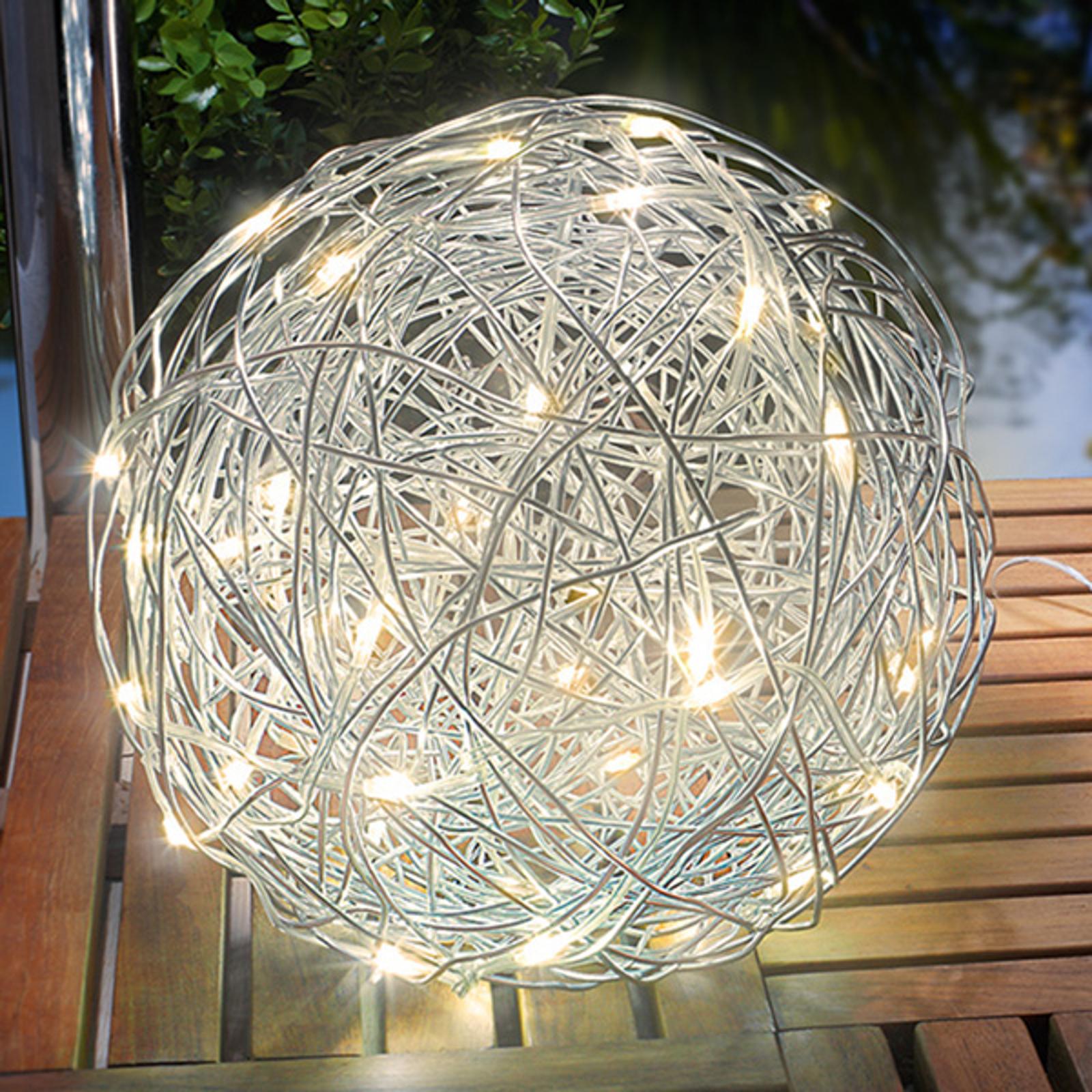 Warmwitte zonne-energie lamp aluminium draadbol