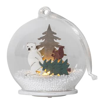 Bola de vidrio LED Forest Friends oso polar, árbol