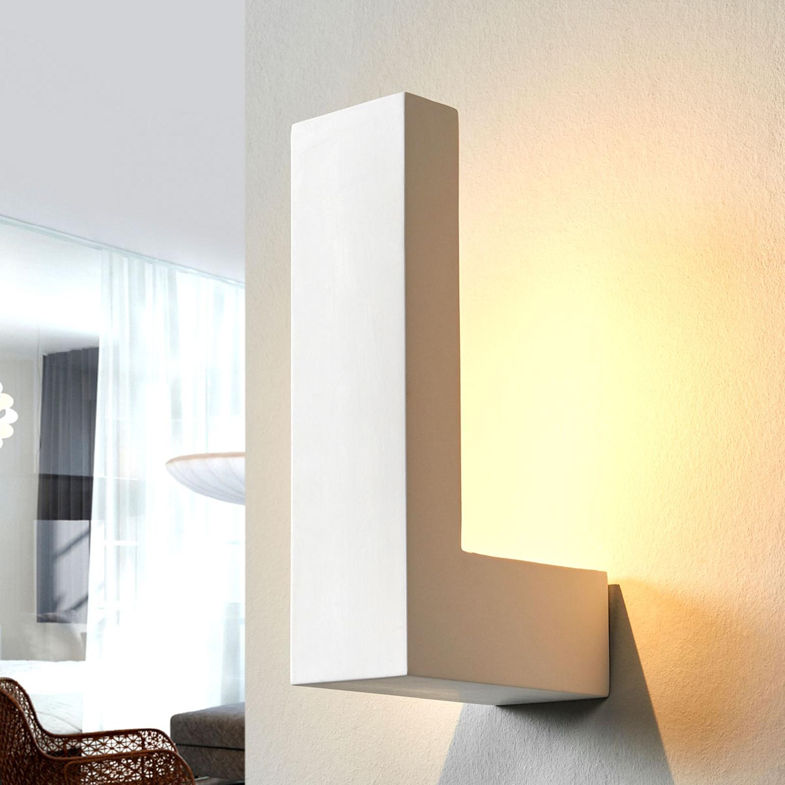 Witte LED-wandlamp Cera van keramiek