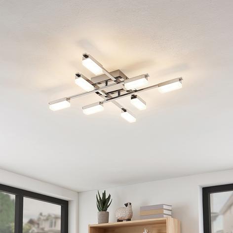 Lindby Mally plafoniera LED cromata, 8 luci