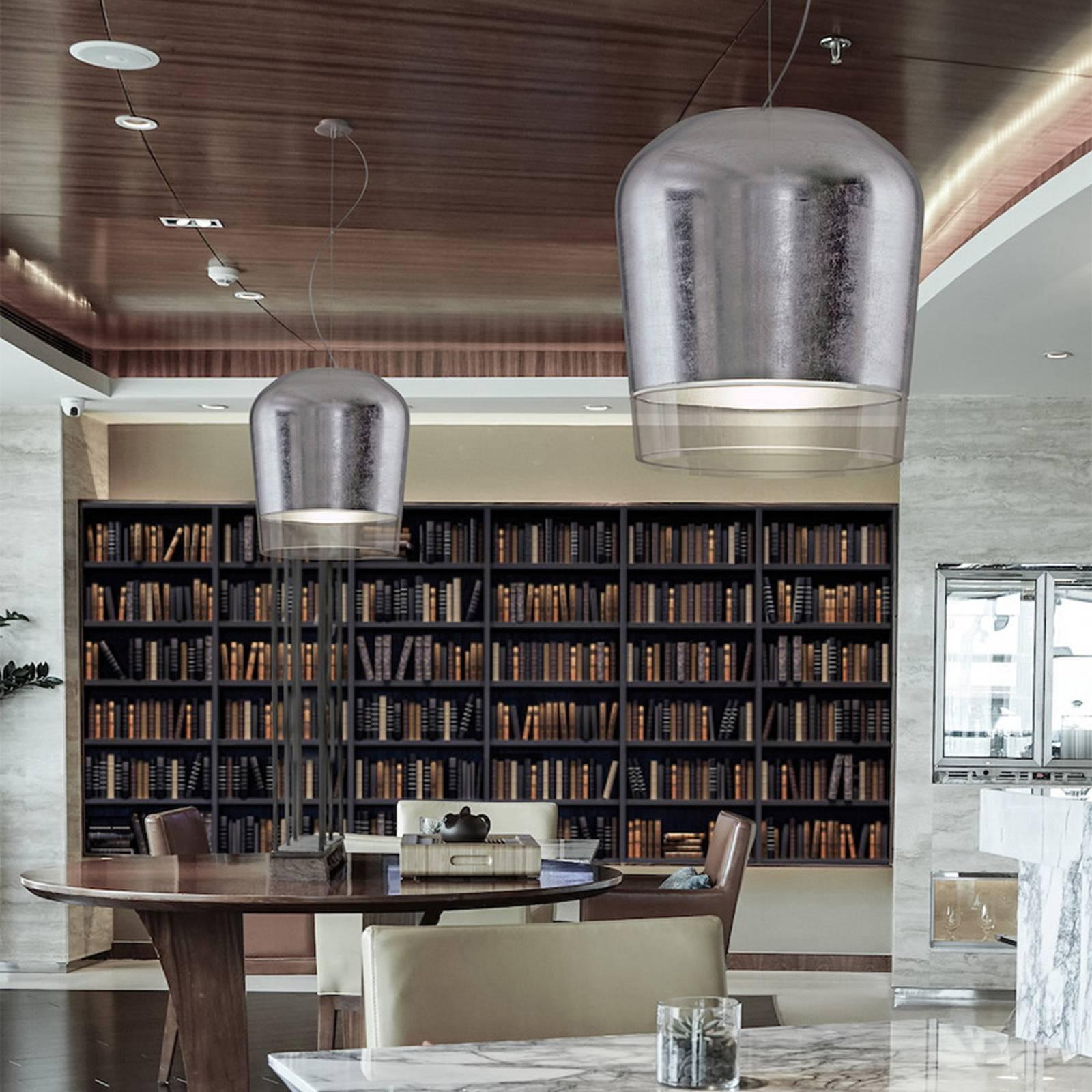 Casablanca Syss suspension 1 lampe argentée Ø 23cm