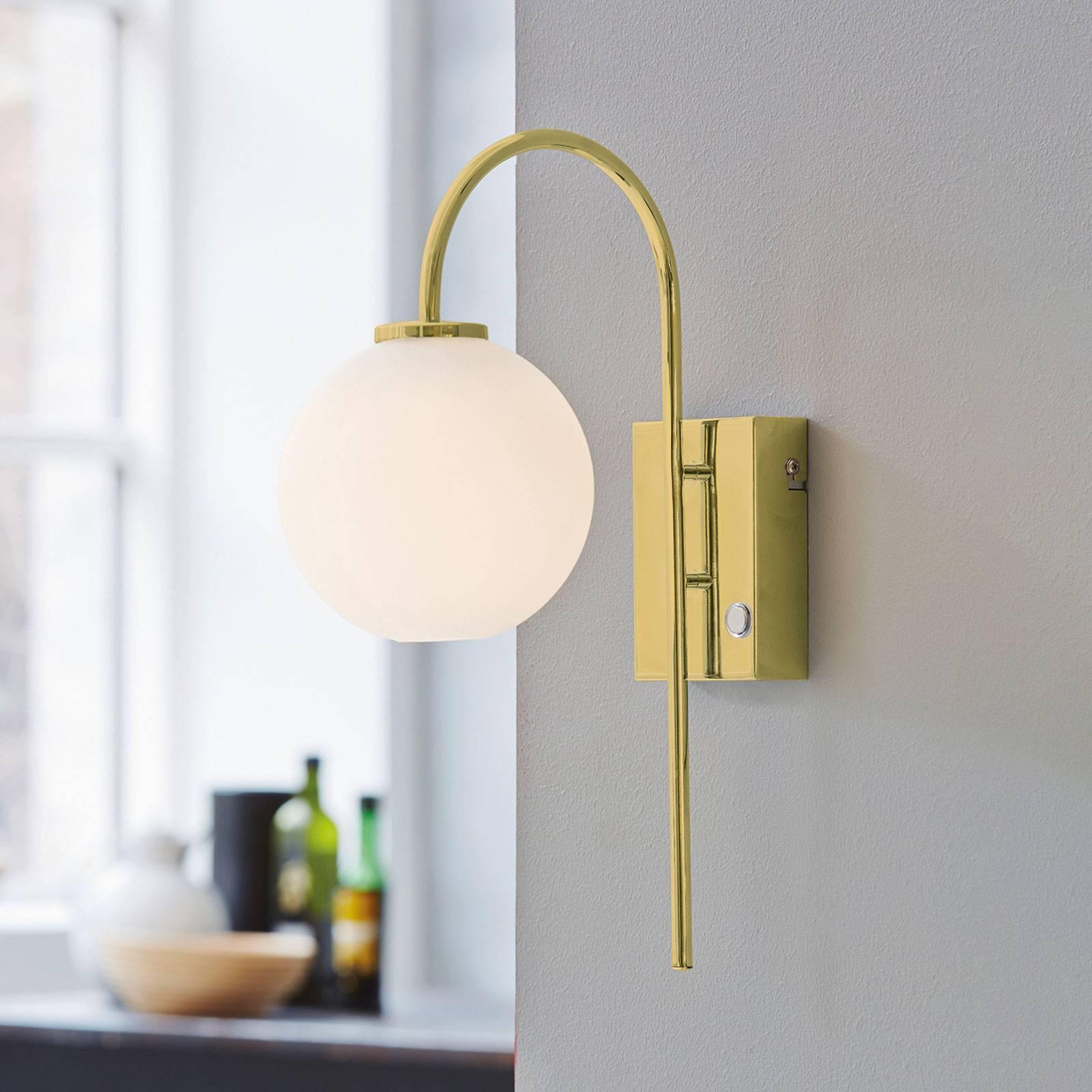 Wandlamp Ballon met stekker, 1-lamp, messing
