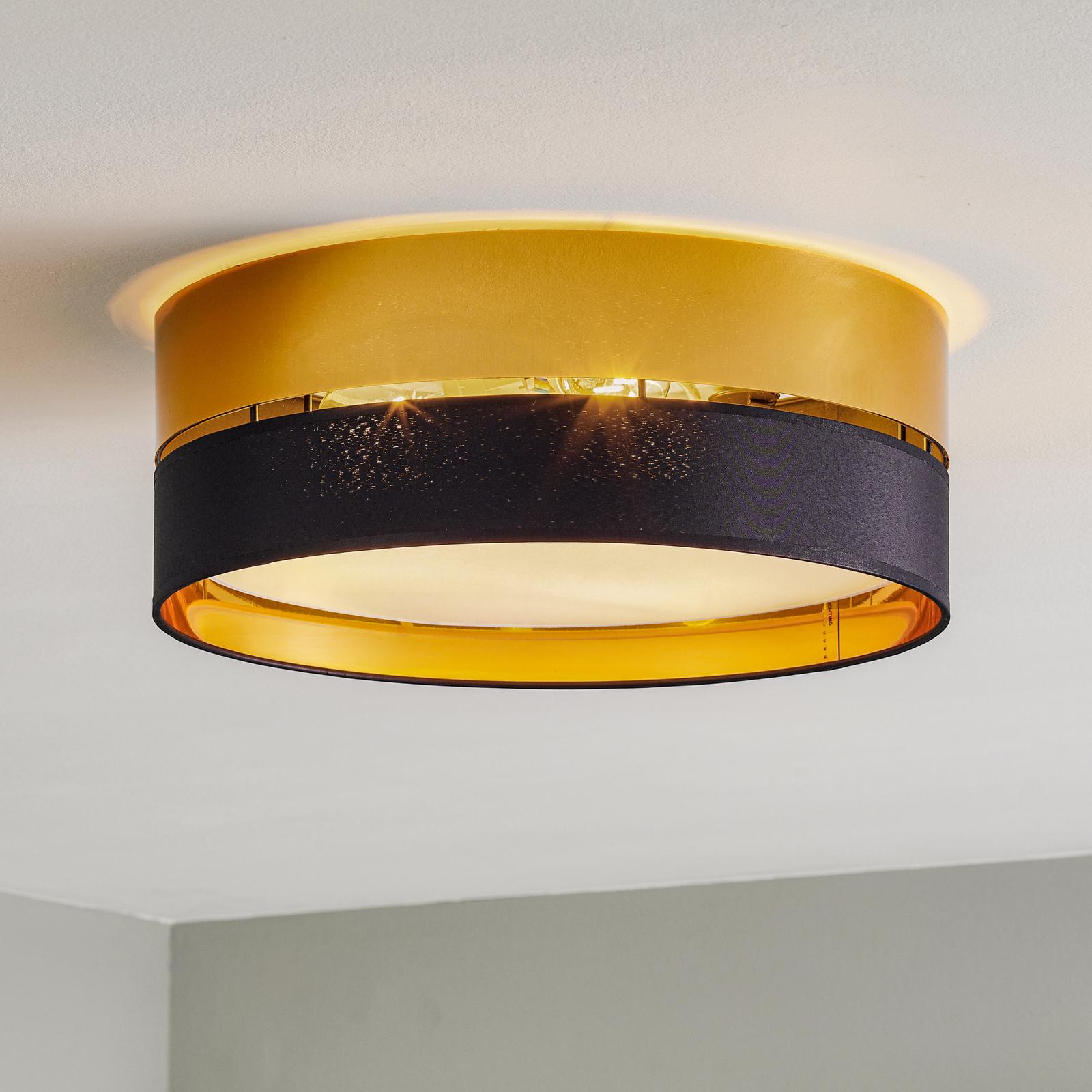 Hilton taklampe, svart/gull, Ø 45 cm