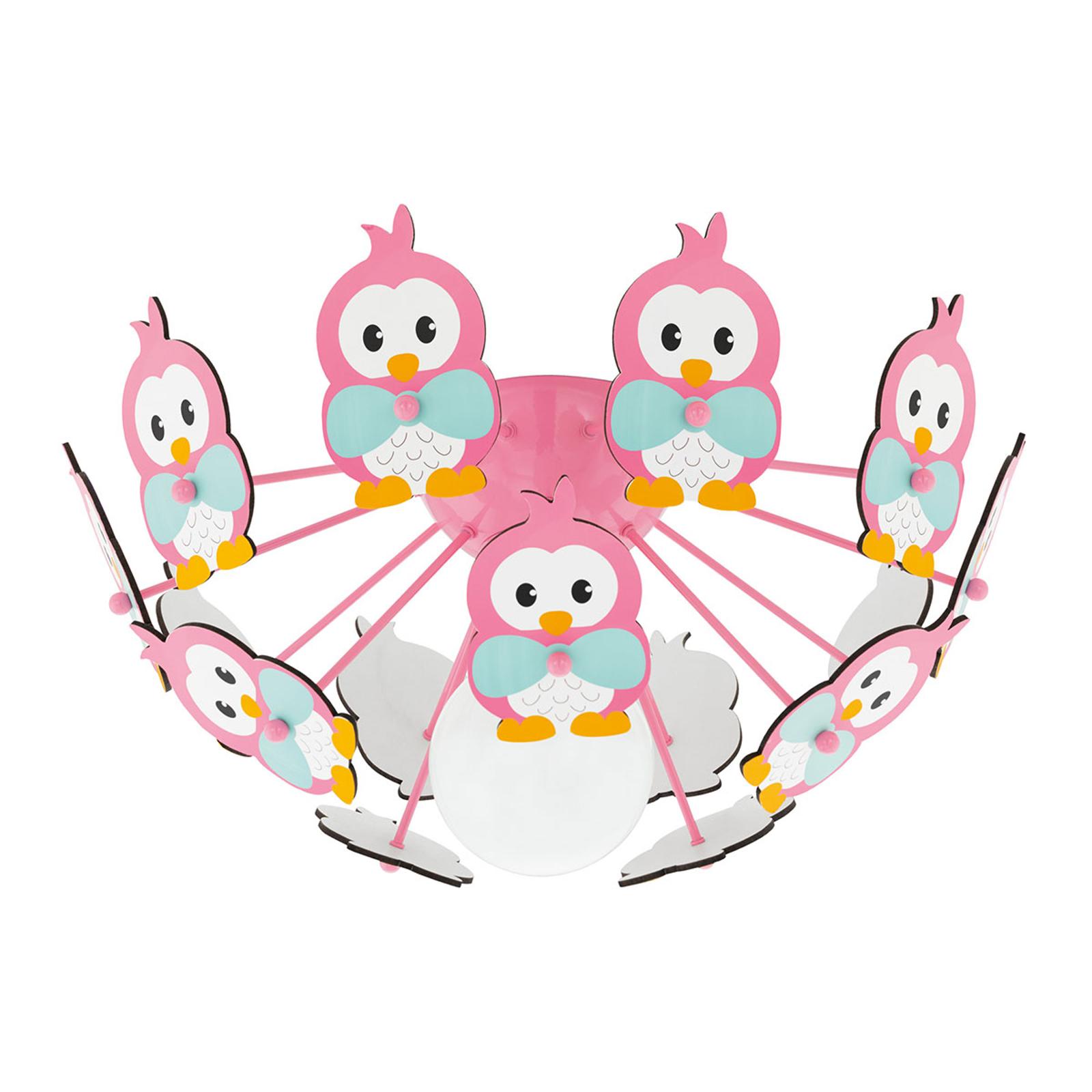 Lampa sufitowa Viki 2 z pingwinami różowa
