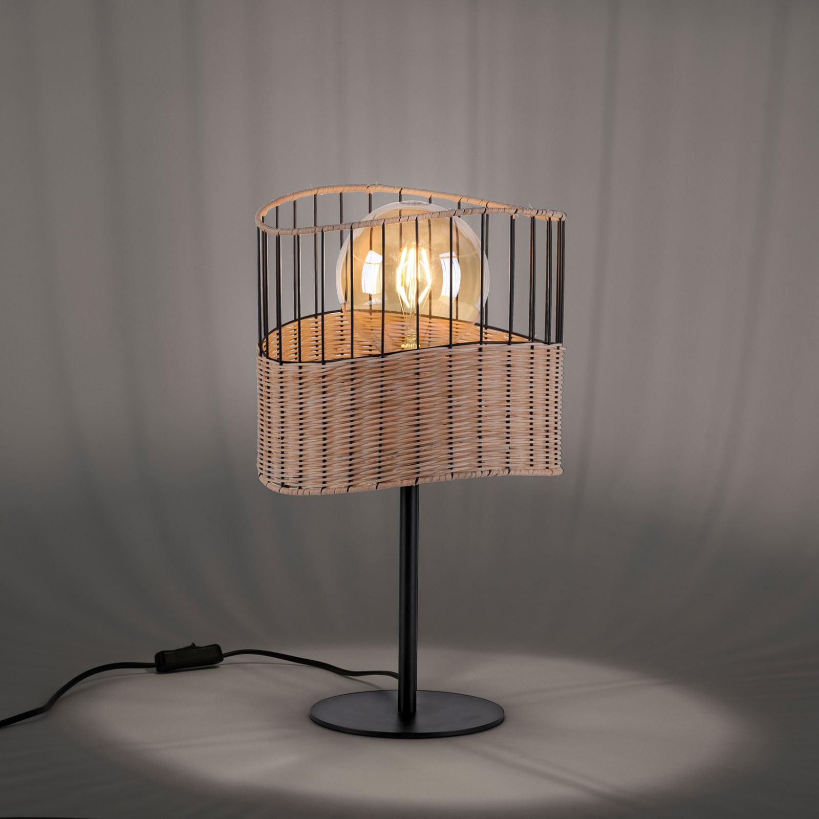 Lampa stołowa Reed z drewna i metalu
