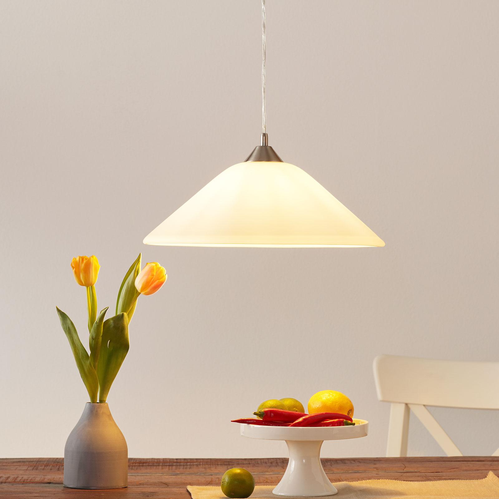 Lampada a sospensione LOISA -vetro opalino nichel