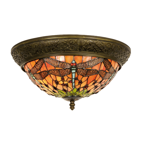 Henrivende taklampe Bella, Tiffany-stil, 38cm