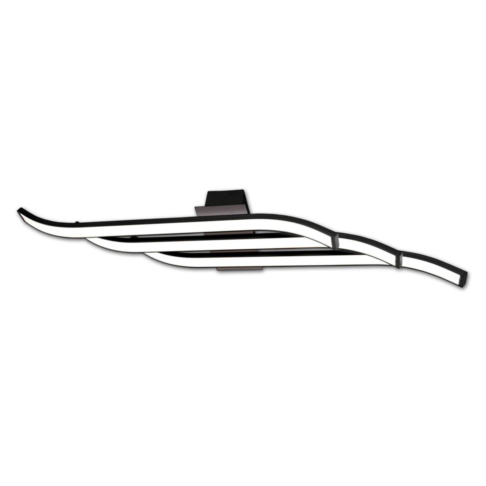 Kurvet LED taklampe Largo, svart