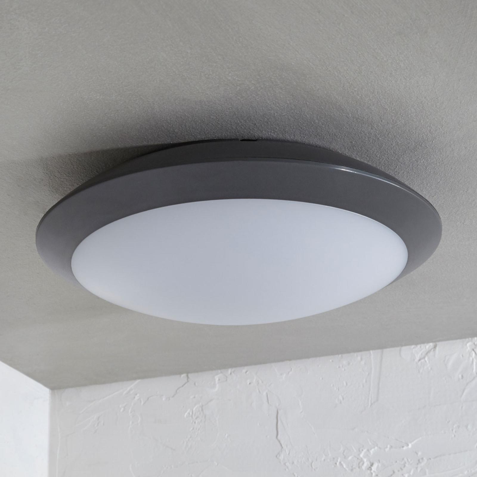 Plafonnier extérieur LED Naira, gris, avec capteur