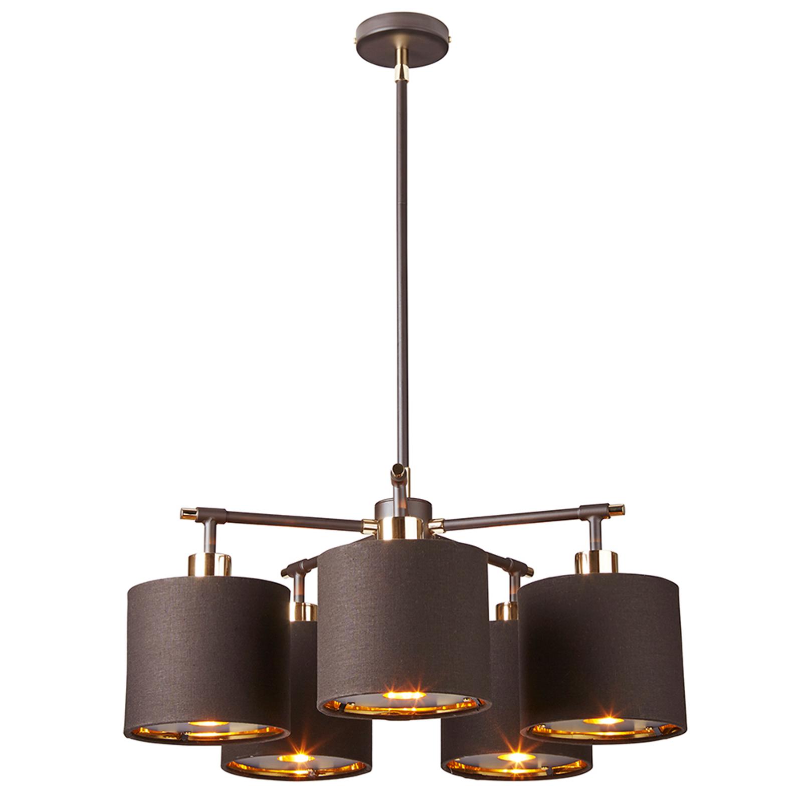Pendellampe Balance i brunt og messing,5 lyskilder