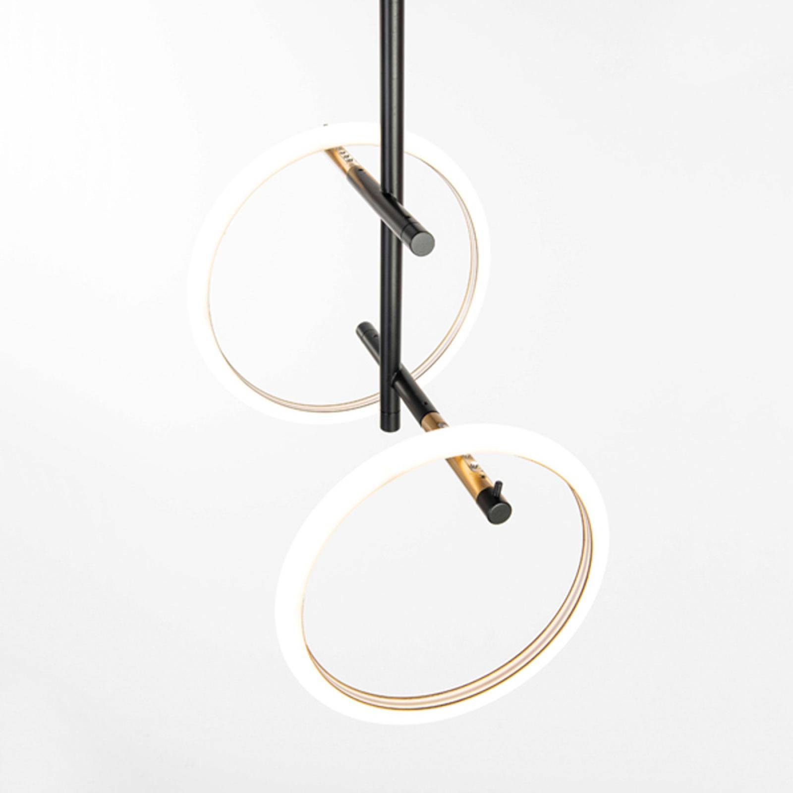 Ulaop LED-loftlampe, to ringe, sort