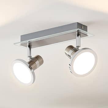 Lindby Kajetan foco LED, níquel, 2 luces