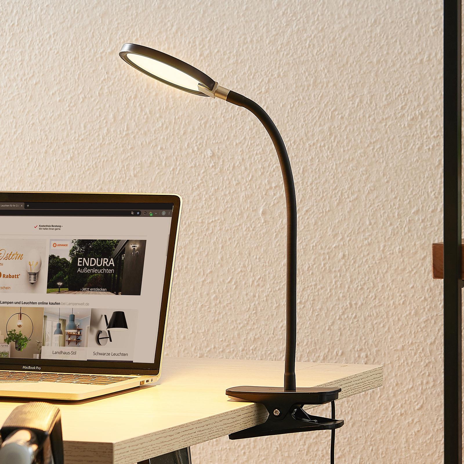 Lindby Binera LED-klämlampa med dimmerfunktion