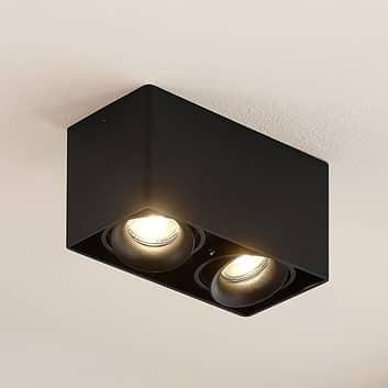Arcchio Kubika downlight, GU10, 2 lyskilde, svart