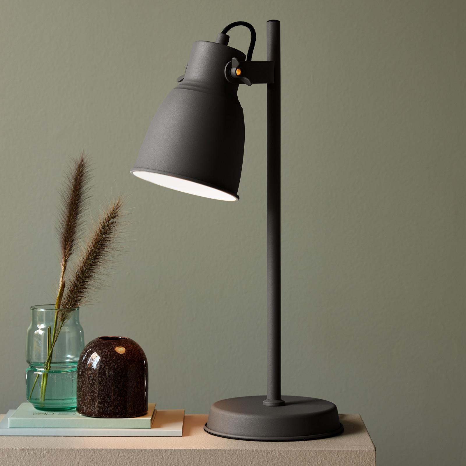 Lámpara de mesa Adrian de metal, gris