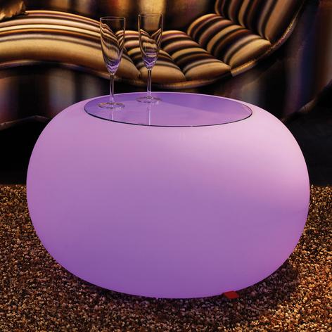 Stolik BUBBLE, światło LED RGB i szklany blat