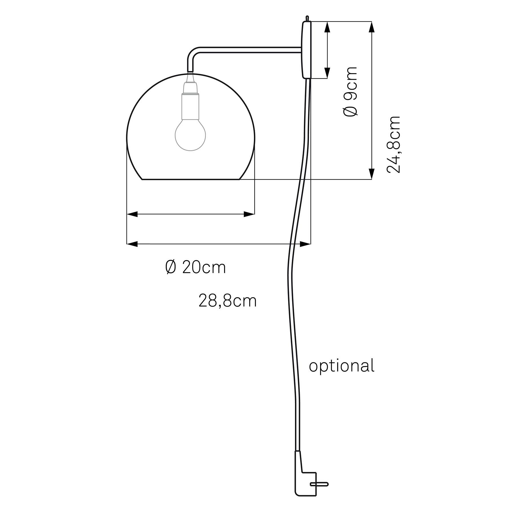 Nyta Tilt Globe Wall wandlamp kabel rood, zwart