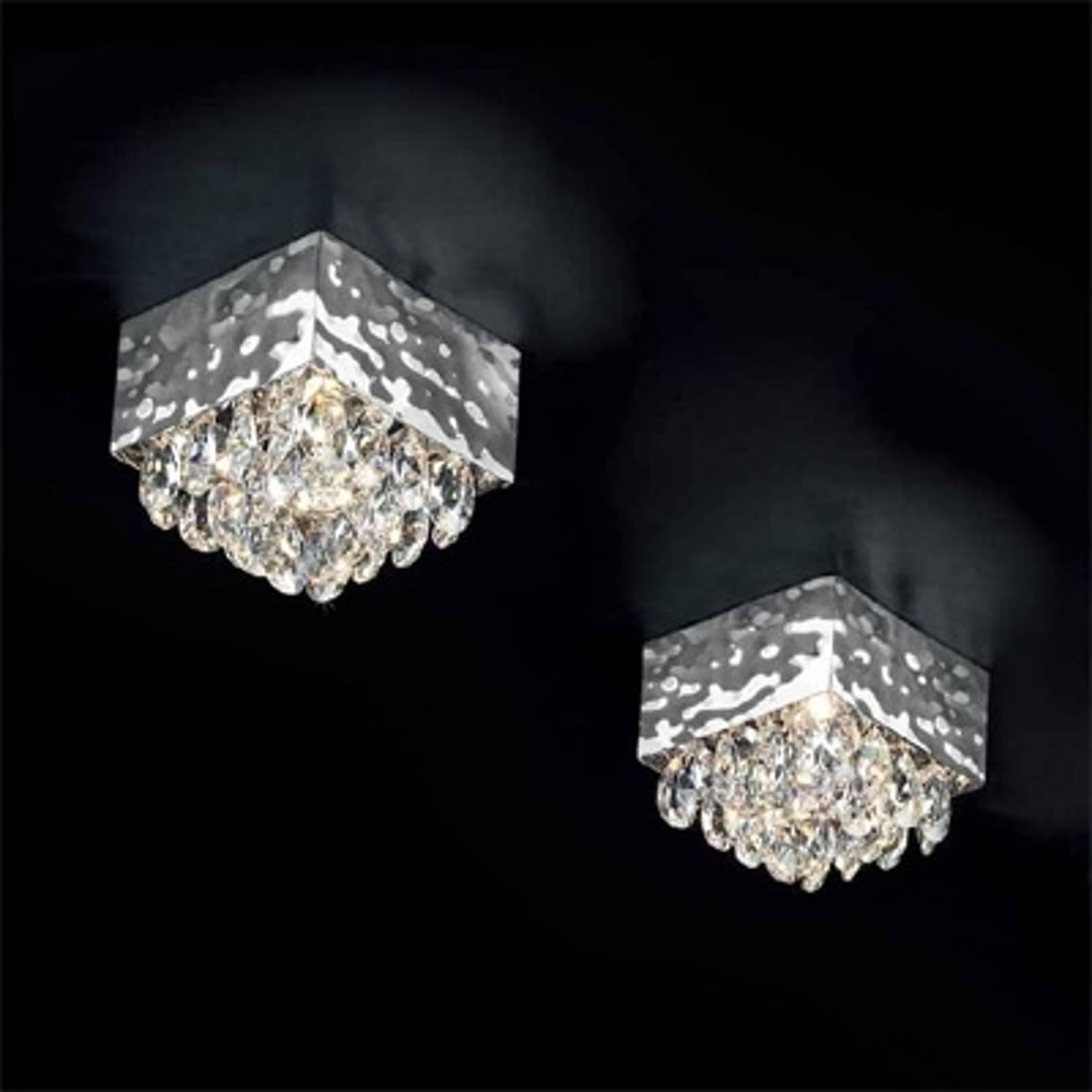 Plafondlamp MAGMA, kristalbezetting helder 12x12cm