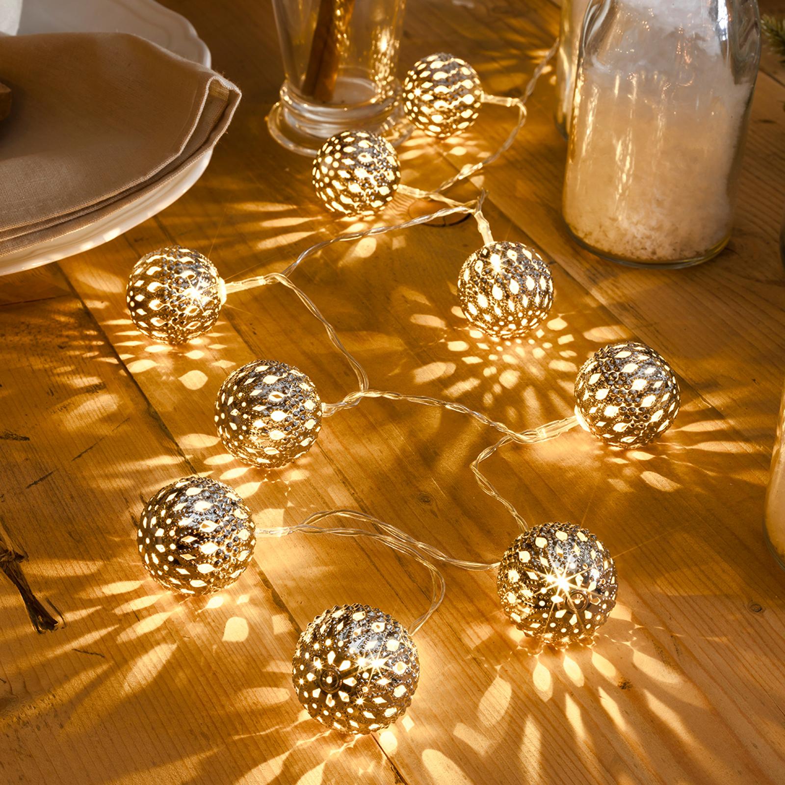 Sølvfarget LED-lyslenke Metallkule, 10 lys