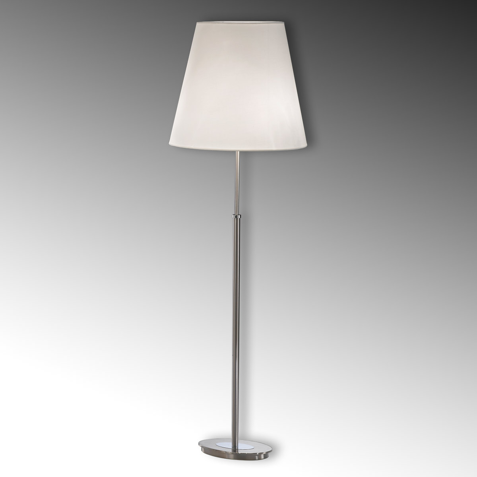 Textiel-vloerlamp Lilly, nikkel
