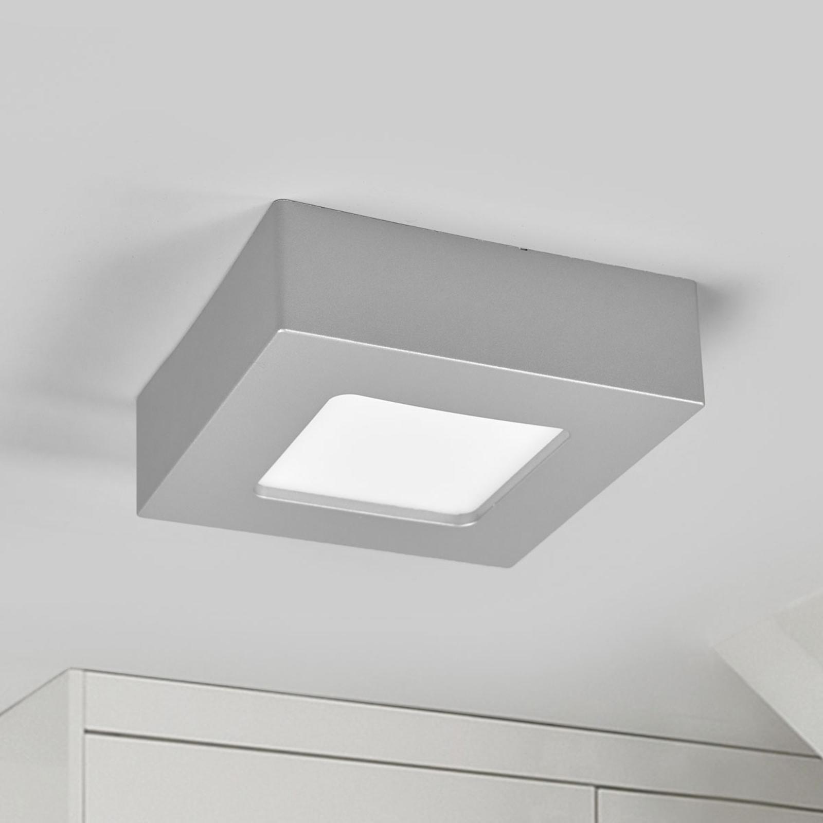 Plafonnier LED Marlo argenté 3000K angulaire 12 cm