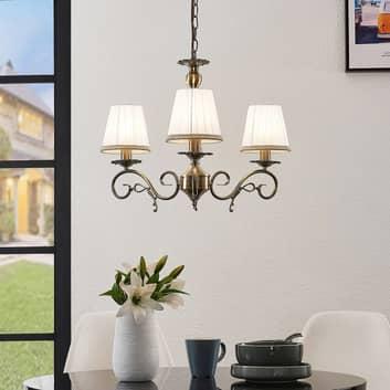 Lindby Finnick -kattokruunu, 3-lamp., messinkiä