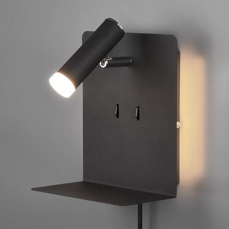 Element LED-væglampe med hylde, mat sort