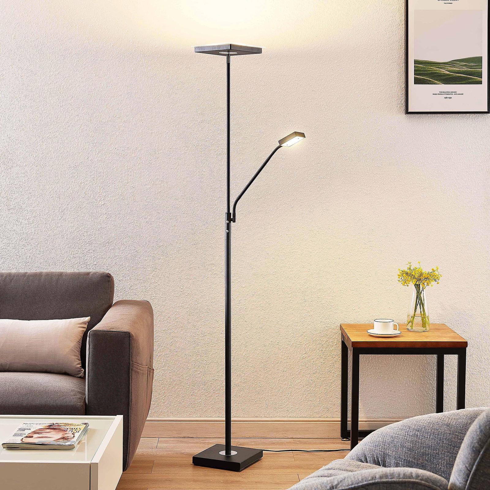 Lindby Sumani lampa stojąca LED, kątowa, czarna