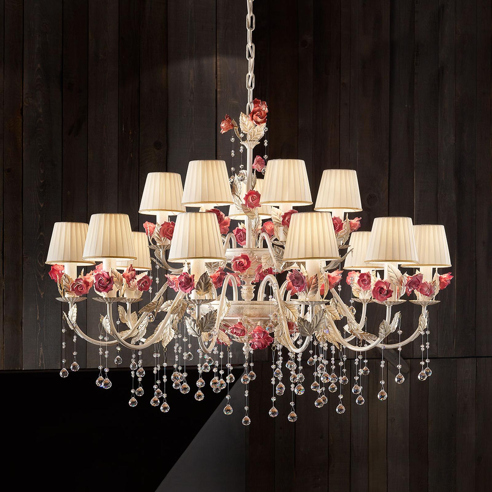 Effektfull lampkrona Fiore med 15 ljuskällor