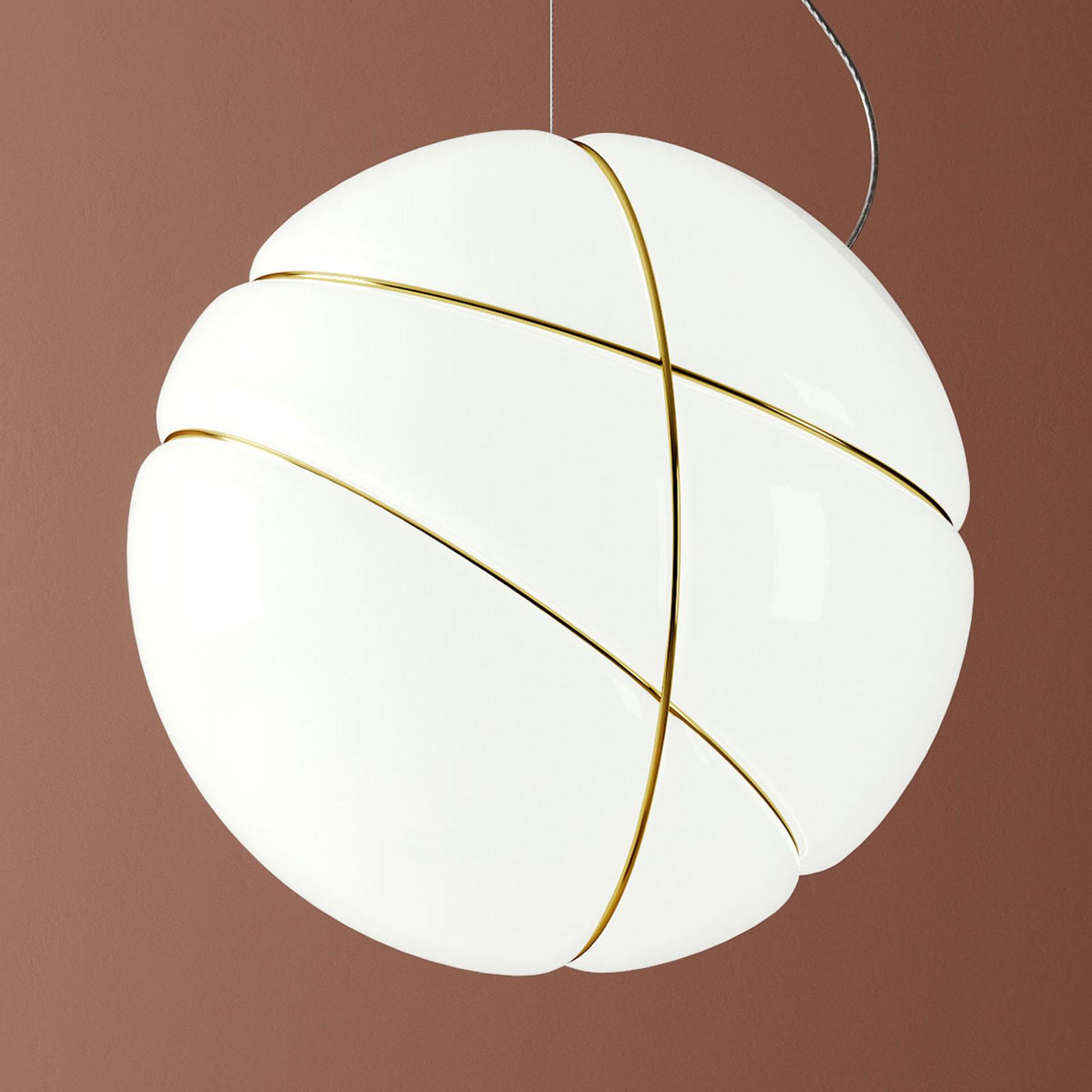 Fabbian Armilla Glas-Hängeleuchte weiß, gold