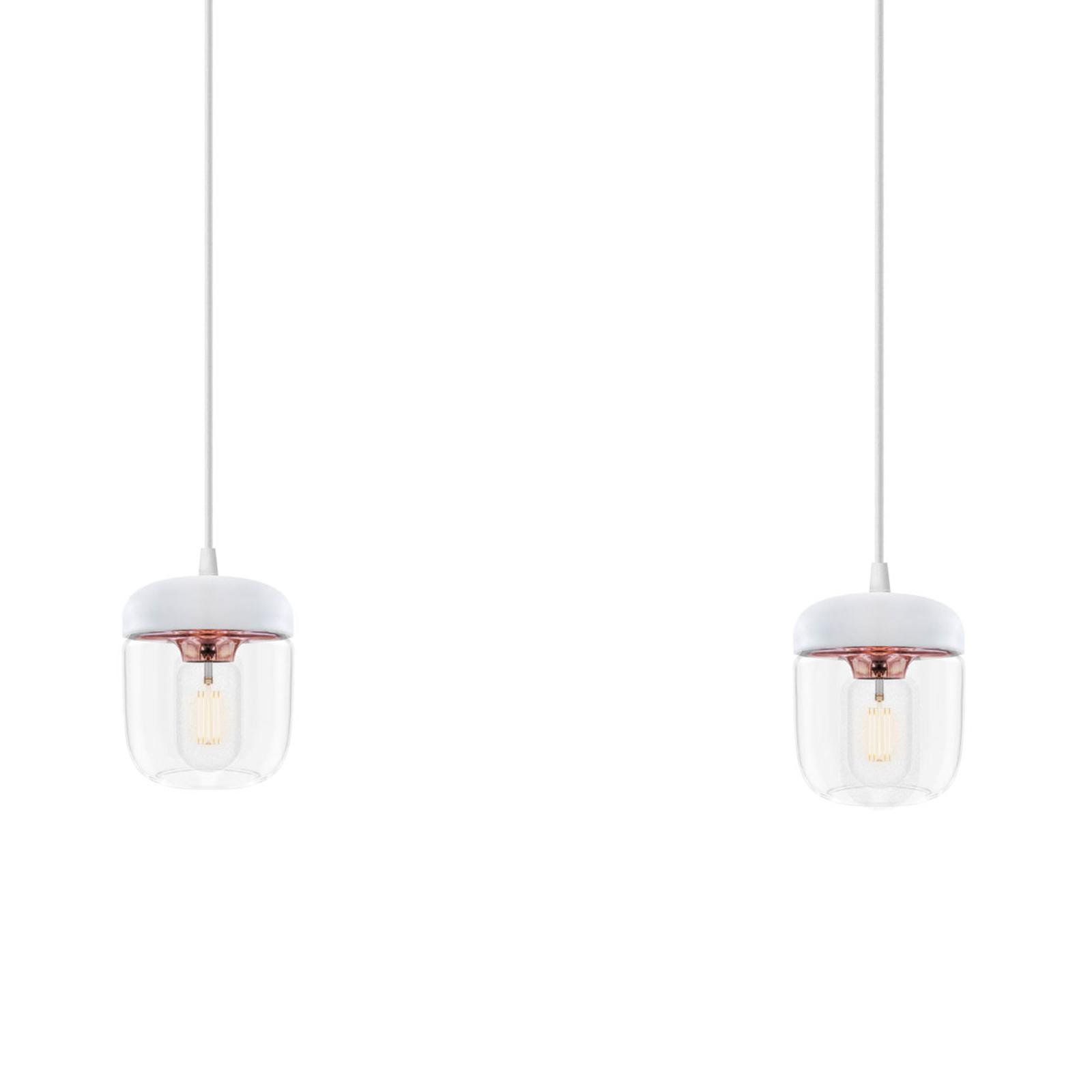 Suspension Acorn, à 2 lampes, blanc et cuivre