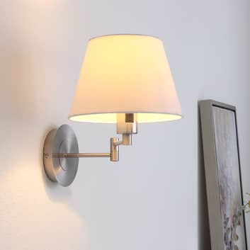 Uittrekbare stoffen wandlamp Pola, mat nikkel