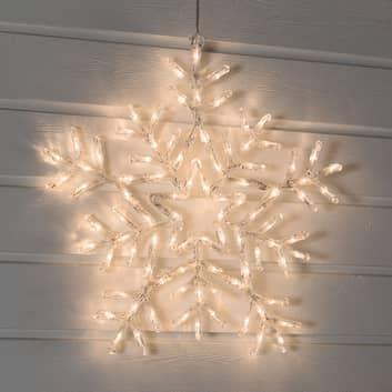 Lämmintä valkoista valoa loistava LED-lumihiutale